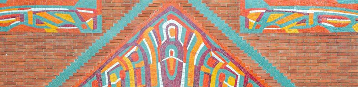 Mosaïque briques rouges et couleurs